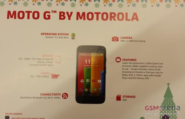 Moto G smartphone leaks in holiday-themed promo card