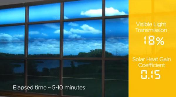 SageGlass Simplicity electrochromic glass is solar powered and controlled with an iPad