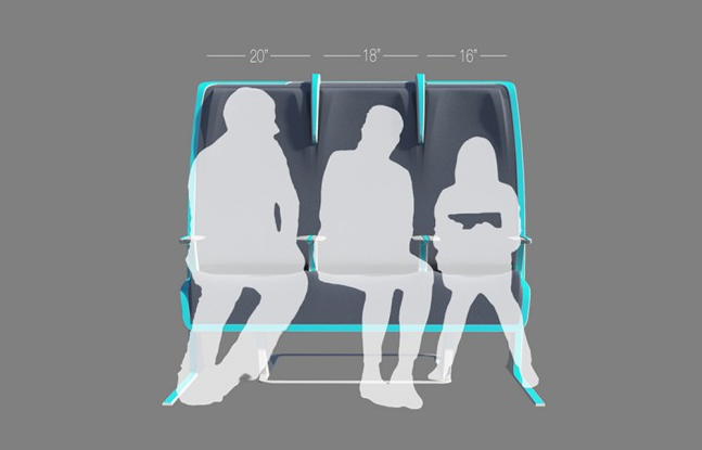 Morph airline seat concept adjusts to passenger size