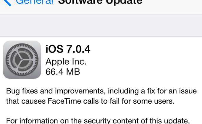 iOS 7.0.4 and 6.1.5 software updates released with FaceTime fix