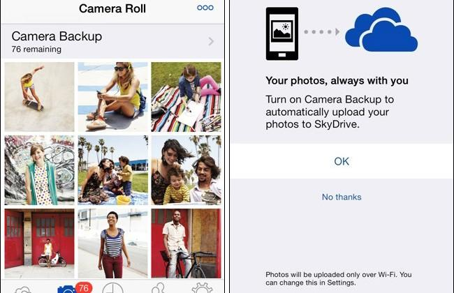 SkyDrive for iOS adds auto camera backup