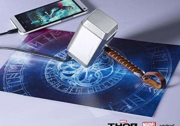 Thor Mjolnir hammer USB battery pack for geeks on the go