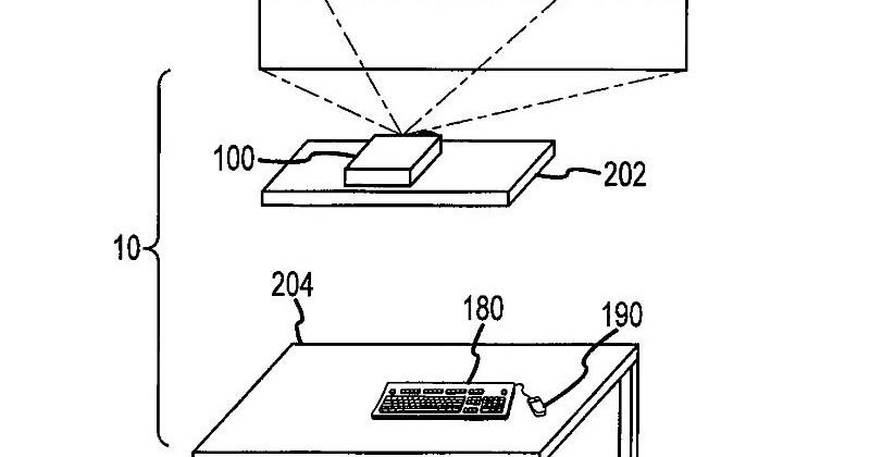 Apple patents computer with extreme-angle projector, wireless charging