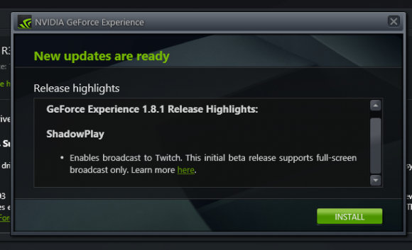 NVIDIA GeForce Experience ShadowPlay Twitch streaming live
