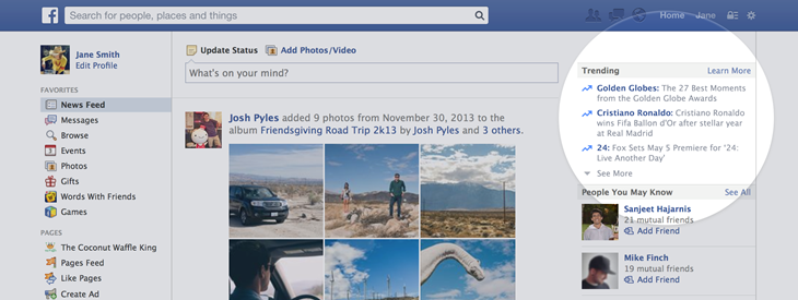 Facebook Trending brings popular topics to light, rolling out now