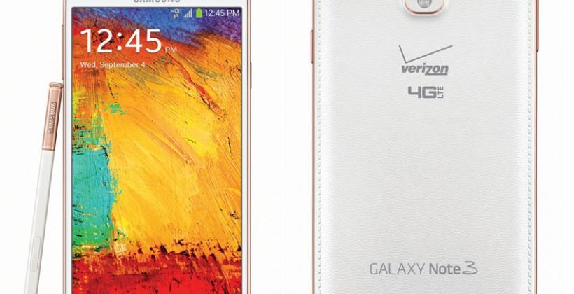 Samsung Galaxy Note 3 in rose gold hits Verizon