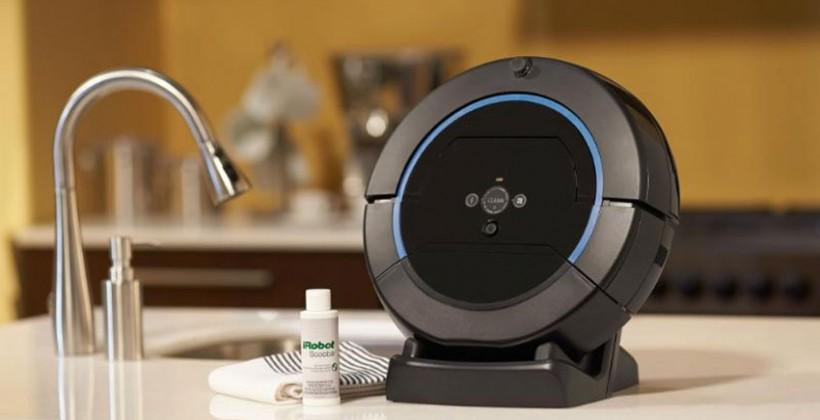 iRobot Scooba 450 uses a three-cycle wet floor scrubbing system