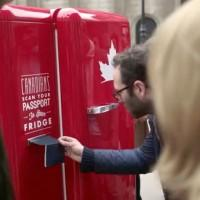 Molson Canadian beer fridge only opens for Canadians