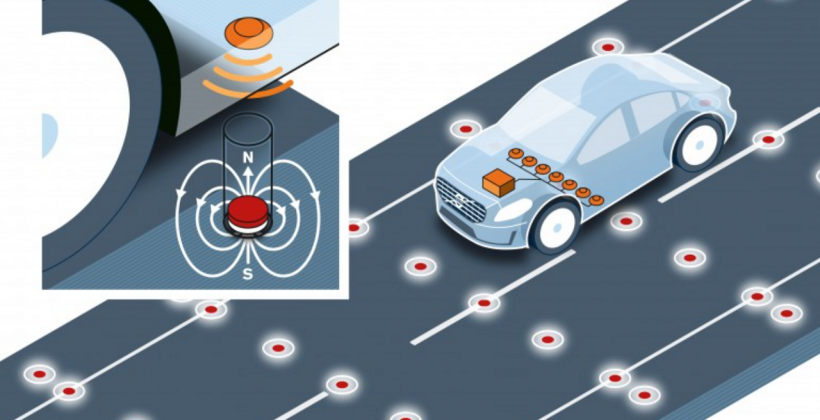 Volvo self-driving car tests use road-embedded magnets