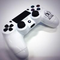 White PS4 DualShock 4 controller appears: colors on the horizon