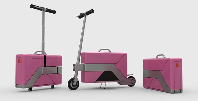 Commute-Case electric scooter hides in a briefcase