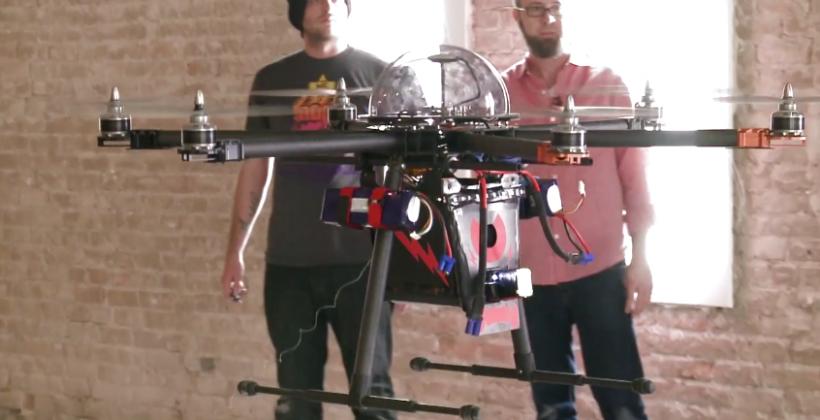 Stun-gun drone demos 80,000 volt perp put-down potential