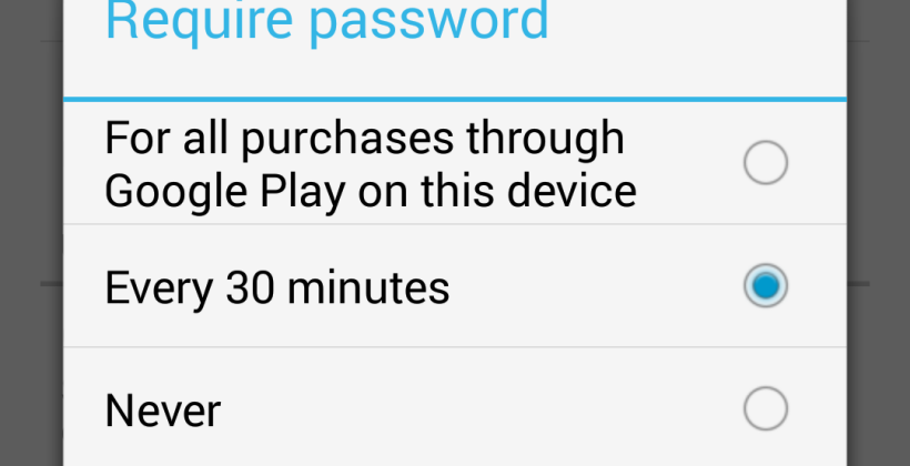 Google Play update gives users option of forcing password for every purchase