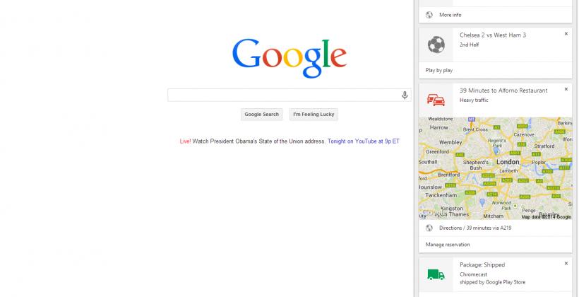 Google brings Now to Chrome desktop version for Windows, Mac
