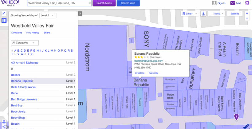 Yahoo Maps gets indoor mapping from Nokia HERE