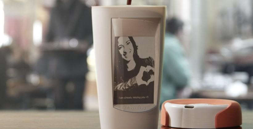 Smart coffee mug offers e-ink display