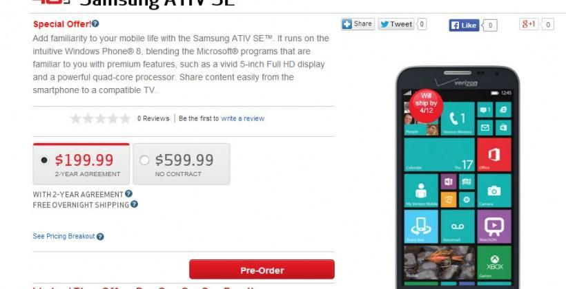 Samsung ATIV SE hits Verizon pre-order