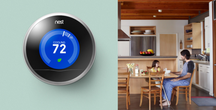 Nest thermostat Google Play listing appears, then pulled