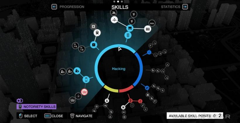 Watch Dogs skill trees: hacking, crafting, driving, combat