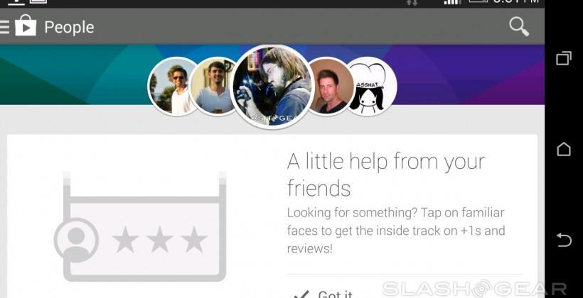 Google Play Store People: seeing friends buy things