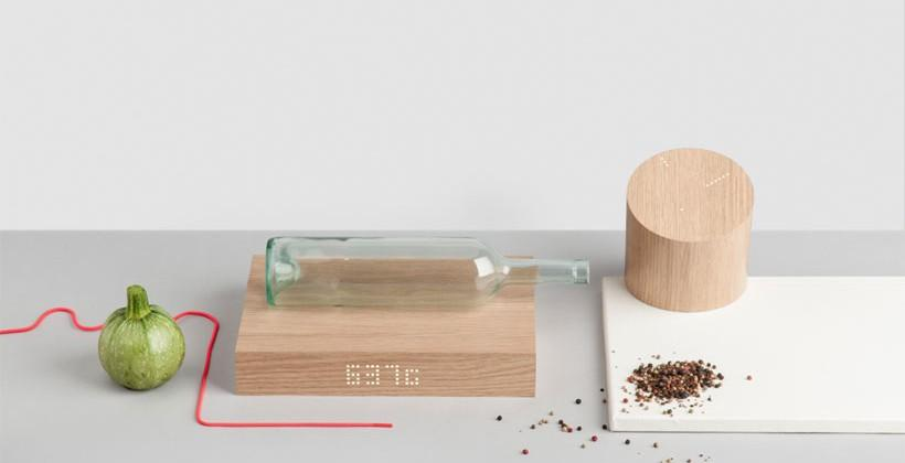 GKILO web connected clock and kitchen scale looks like a wood block