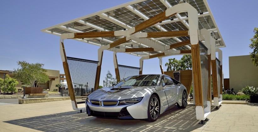 BMW i Solar Carport Concept powers i8 and home