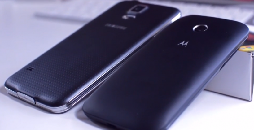 Moto E edges the Samsung Galaxy S5 in speed test video