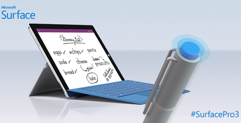 Surface Pro 3 pen clicks for instant note-taking and saves