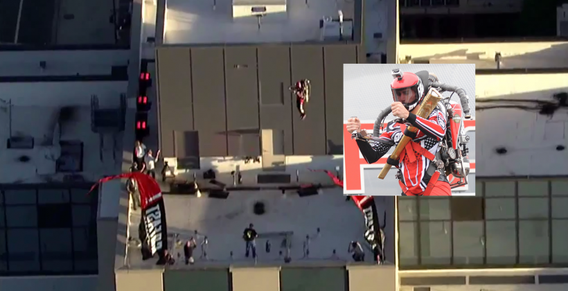 Man jumps off 45-story building with rocket pack from Go Fast