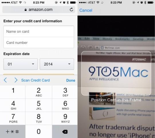 iOS 8 Credit Card Scan