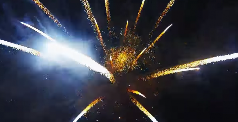 Fireworks from a drone's perspective