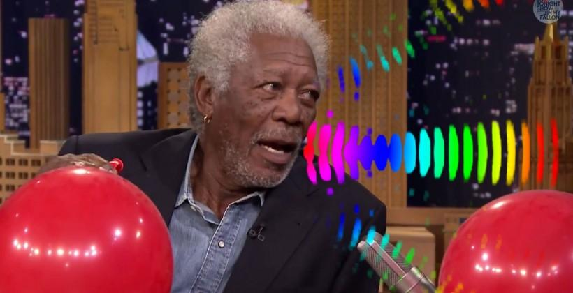 Morgan Freeman has helium chat with Jimmy Fallon for science