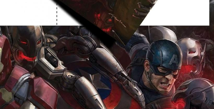 Avengers: Age of Ultron poster puzzle pieces converge