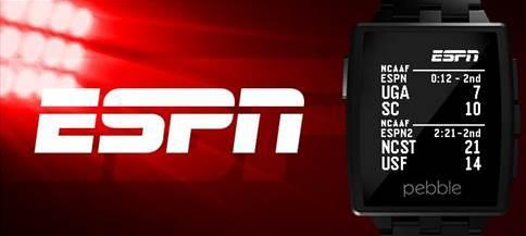 Pebble smartwatch ESPN Scores app now available