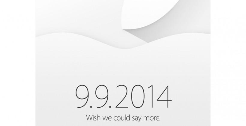 "Apple Sept 9th iPhone 6 event official: ""Wish we could say more"""