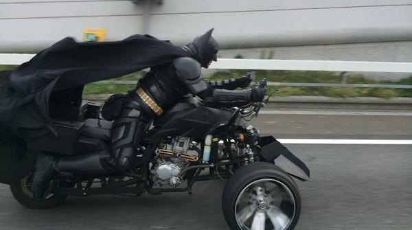 Batman sighted in Japan riding on a trike