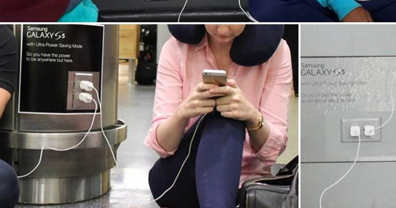 Samsung digs into Apple at airport wall outlets