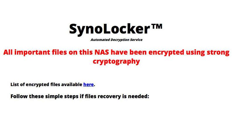 Synology gets infected with SynoLcker ransomware strain
