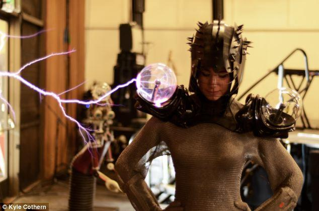 Chainmail dress with plasma balls lets wearer take on 500k volts