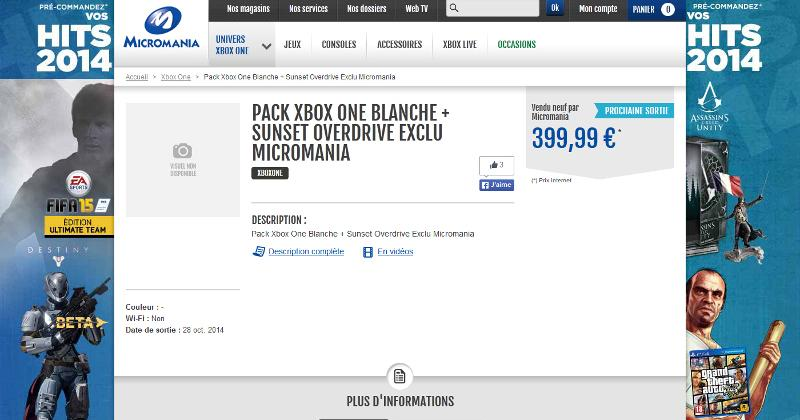 Sunset Overdrive White Xbox One spotted on French website