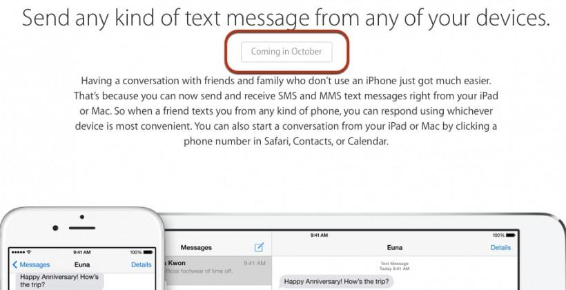 iOS 8 Continuity arrives in October, perhaps with OS X