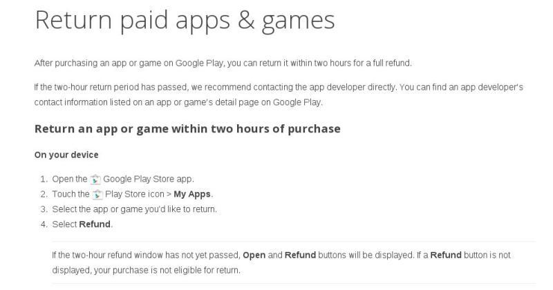 Google Play Store refund window really is 2 hours now