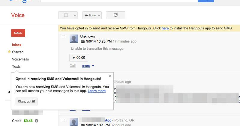 Google seems to be starting Voice and Hangouts merger