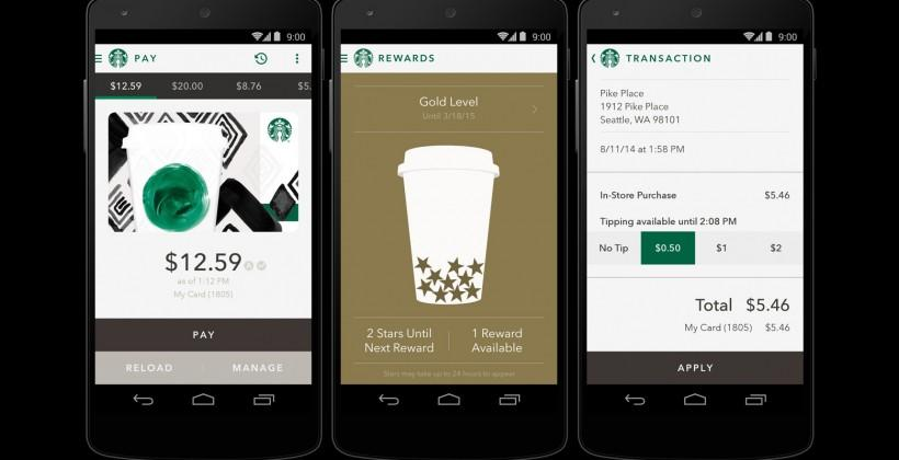 Starbucks for Android updates: Shake to Pay and tipping
