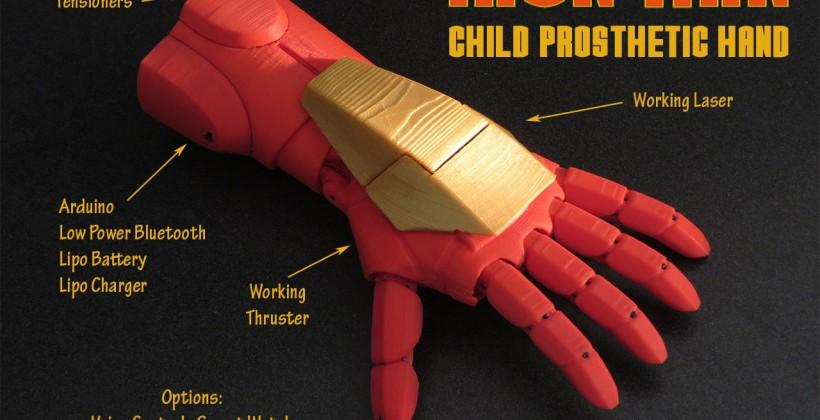 3D printed Iron Man prosthetic arm includes LED thruster