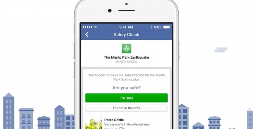 Facebook Safety Check lets friends know you're OK
