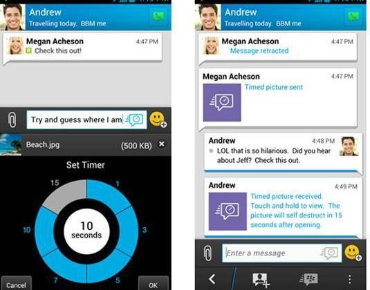 Blackberry's BBM learns from Snapchat, adds vanishing/retractable messages