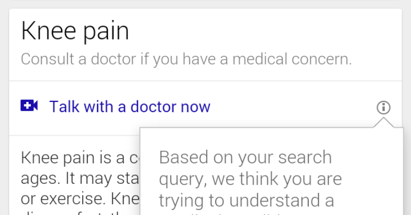 "Google is experimenting with ""call a doctor"" video chat"