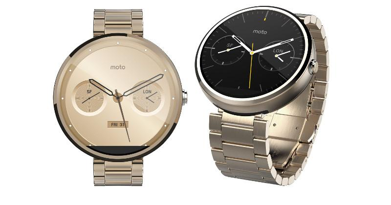 Moto 360 in gold, brown leather strap sighted in Amazon