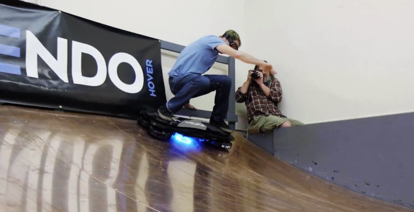 Tony Hawk rides hoverboard, stays airborne